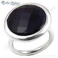 Fashionable Big Black Onyx Gemstone Silver Ring
