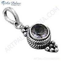 Party Wear Designer Amethyst Gemstone Silver Pendant