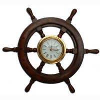 Brass & Wood Ship Wheel Marine Clock
