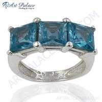 New Arrival Silver Blue Topaz  Gemstone Ring