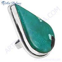 Most Fashionable Pear Shape Silver Turquoise Gemstone Ring