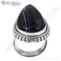 Rocking Style Black Onyx Silver Gemstone Ring