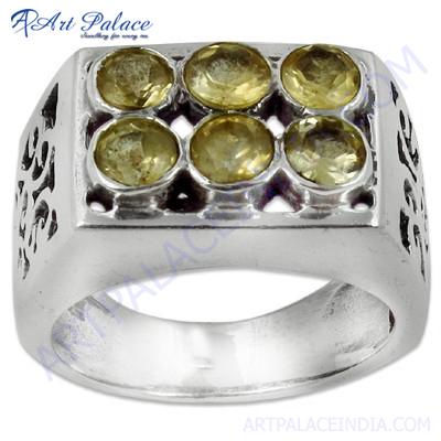 Bold & Beautiful Citrine Silver Gemstone Ring