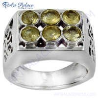 Bold & Beautiful Citrine Silver Gemstone Ring