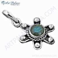Top Quality Flower Style Labradorite Gemstone Silver Pendant