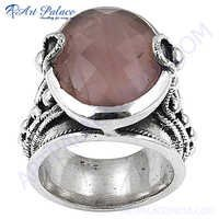 Latest Romantic Rose Quartz Silver Gemstone Ring