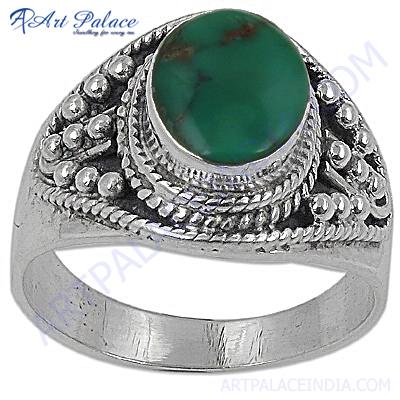 Royal Fashion Turquoise Silver Gemstone Ring