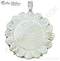 Flower Shell Silver Pendant