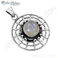 Fret Designer Rainbow Moonstone Gemstone Silver Pendant