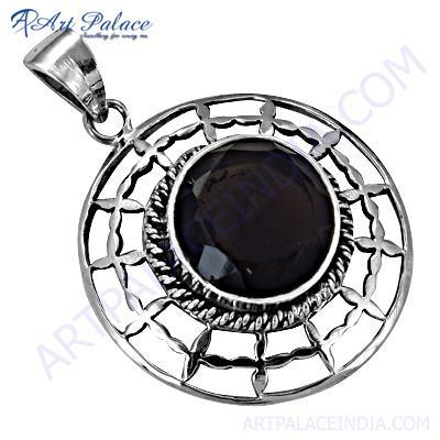 Popular Designer Smokey Gemstone Silver Pendant