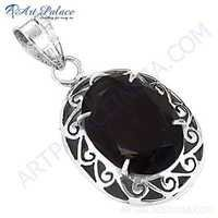 Excellent Designer Smokey Quartz Gemstone Silver Pendant