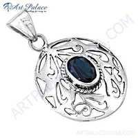 Most Designer Blue Quartz Gemstone Silver Pendant