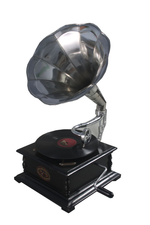 Square Gramophone With Nickel Polished Horn