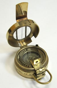 British Prismatic Compass With Leather Pouch