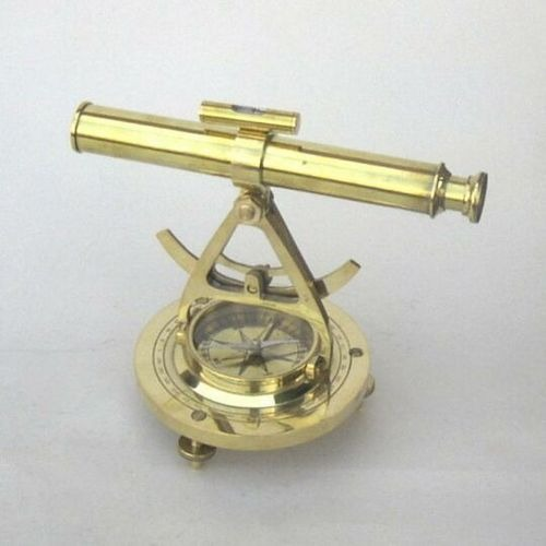 Nautical Brass Alidade Compass With Telescope