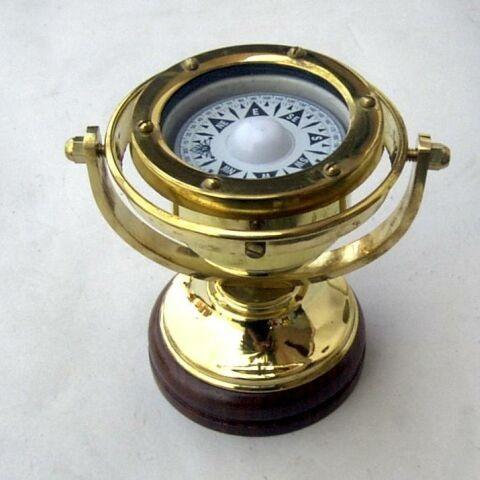 Woodenbase Nautical Brass Alidade Compass