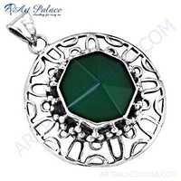 Hot ! Green Onyx Gemstone Designer Silver Pendant