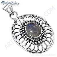 Feminine Unique Design Rainbow Moonstone Gemstone SIlver Pendant