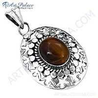 Fret Designer Tiger Eye Gemstone Silver Pendant