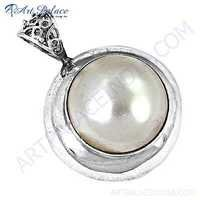 Sensational Pearl Gemstone Silver Pendant