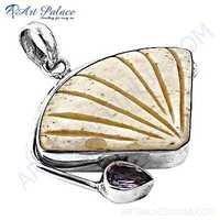 New Fashionable Amethyst & Bone Gemstone Siver Pendant