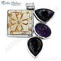 Valuable Multi Gemstone Silver Pendant