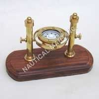 Nautical Brass Gimball Compass on Wooden Base