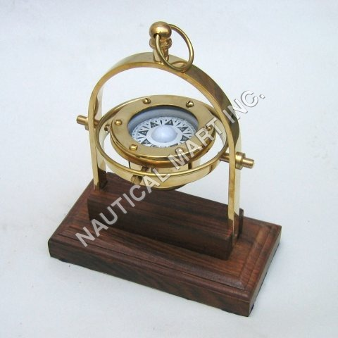 Nautical Solid Brass Gimball Compass on Wooden Bas