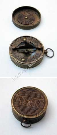 Nautical Brass Pocket Sundial Compass With Lid
