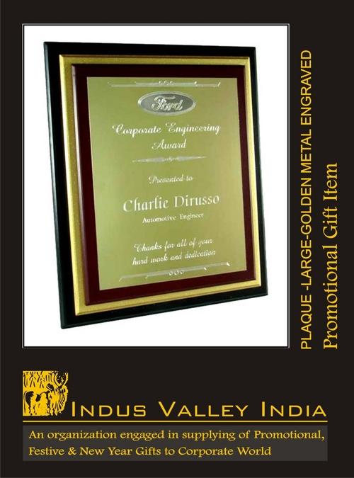 Plaque Large Golden Metal Engraved