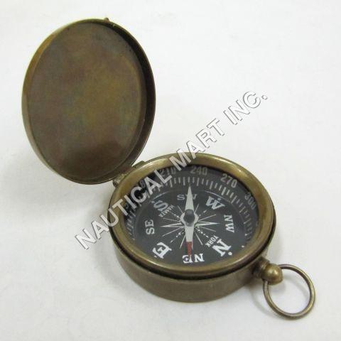 Nautical Antique Brass Pocket Compass