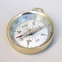 Nautical Brass Pocket Flat Compass With White Dial