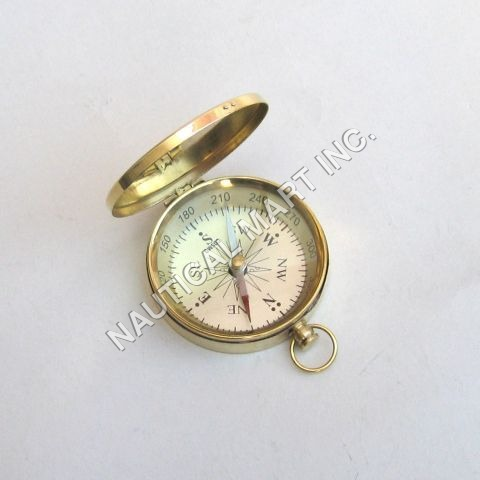 Nautical Brass Pocket Flat Compass With Lid
