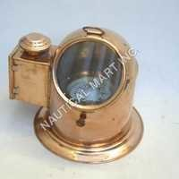 Copper and Brass Binnacle Compass With Oil Lamp