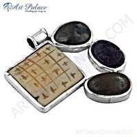 Fashionable Multi Gemstone Silver Pendant