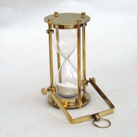 NAUTICAL BRASS GLASS SAND TIMER HOURGLASS 5.5