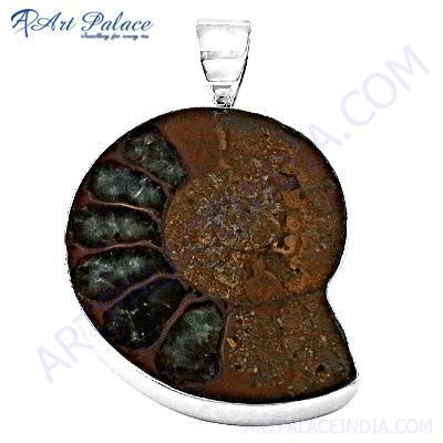 Valuable Ammonite Gemstone Silver Pendant
