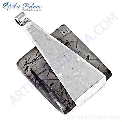 Trendy Black Rutilated Quartz Gemstone Silver Pendant
