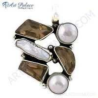 Rady to Wear Citrine & Pearl Gemstone Silver Pendant