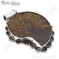 Famous Designer Ammonite Gemstone Silver Pendanr