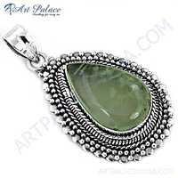 Indain Designer Prenite Gemstone SIlver Pendant