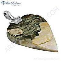 Unique Pear Shiva Shell Gemstone Silver Pendant