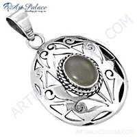 Famous Designer Rainbow Moonstone Silver Pendant