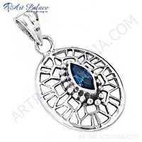 Truly Designer Blue Cubic Zirconia Gemstone Silver Pendant