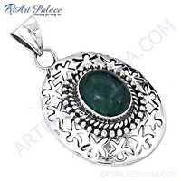 New coming Designer Green Onyx Gemstone Silver Pendant