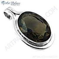 Exclusive Smokey Quartz Gemstone Silver Pendant