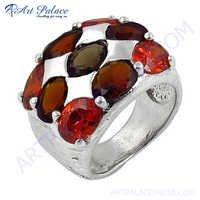 Latest Fashionable Garnet & Pearl & Smokey Quartz Silver Gemstone Ring