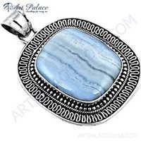 Victorian Blue Lace Agate Gemstone Silver Pendant