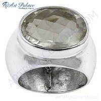 Elegant Crystal Sterling Silver Gemstone Ring