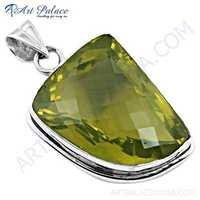 Charming Lemon Quartz Gemstone Silver Pendant